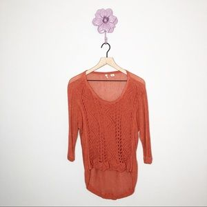 Anthro | Moth Burnt Orange Crochet Front Sweater